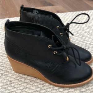 Black leather it lined  Tory Burch booties